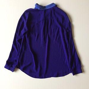 LOFT Tops - Loft Purple & Blue Half Button Up Shirt Size M
